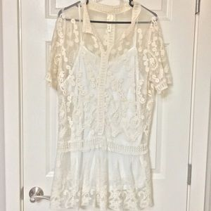 Sheer Cream Shirt with Embroidery